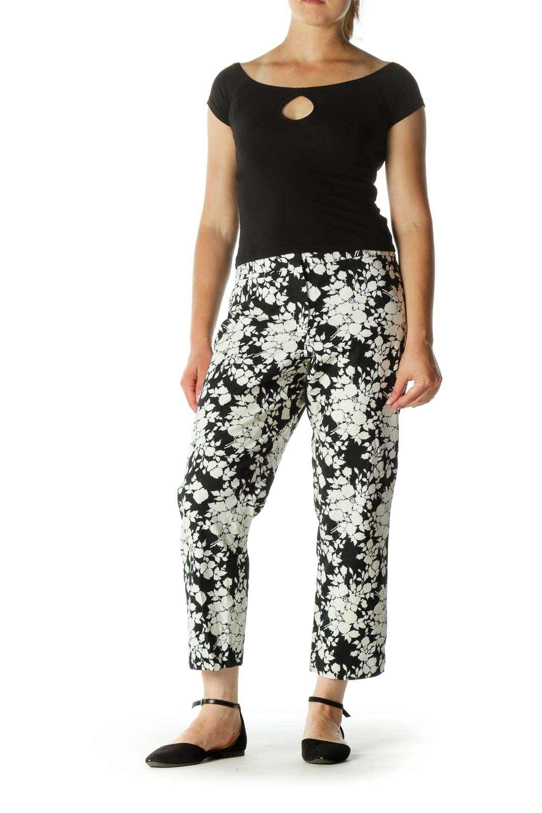 Black Cream Floral Print Stretch Tapered Pants