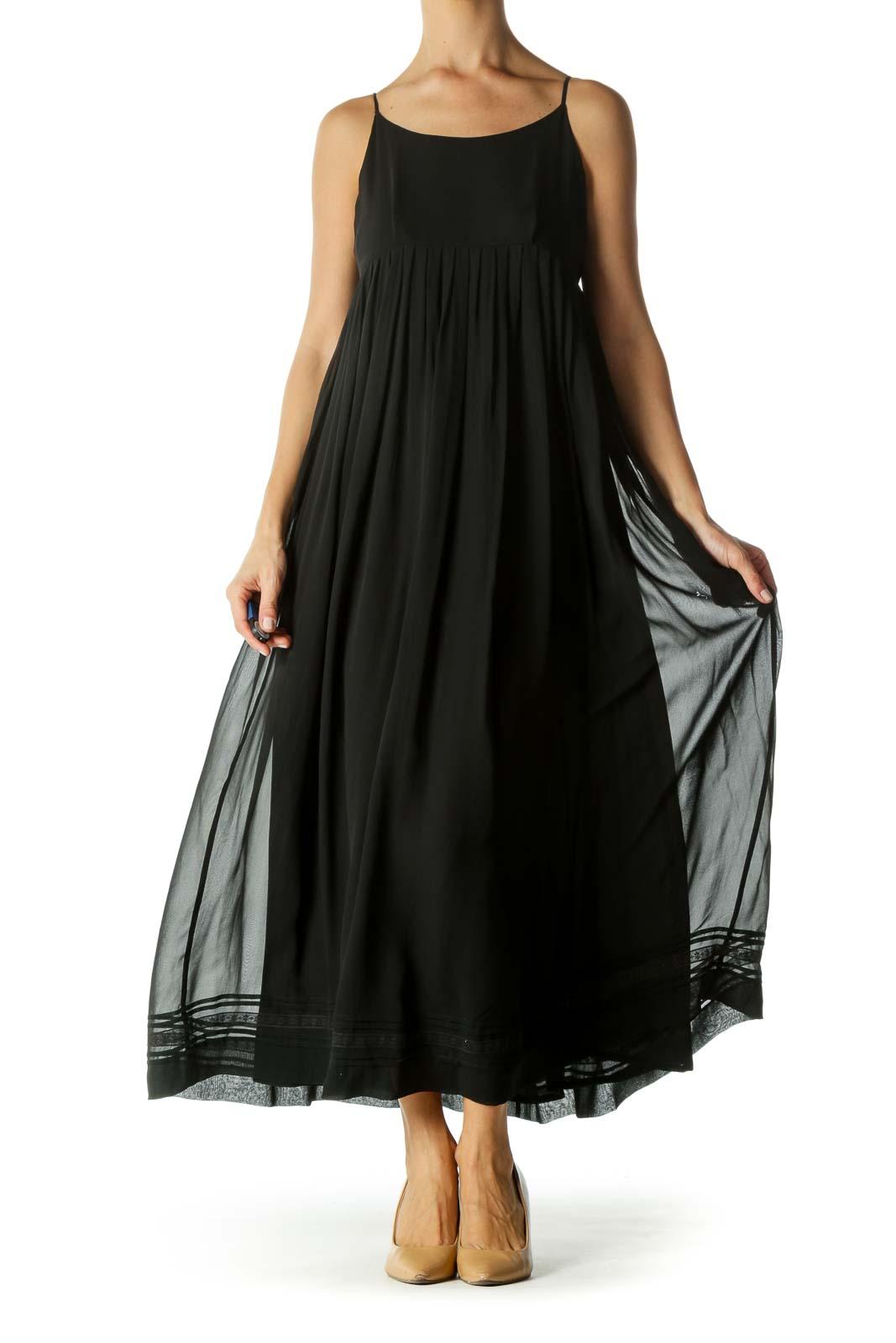 Black Silk Blend Pleated Lower Lace Trim Detail Dress