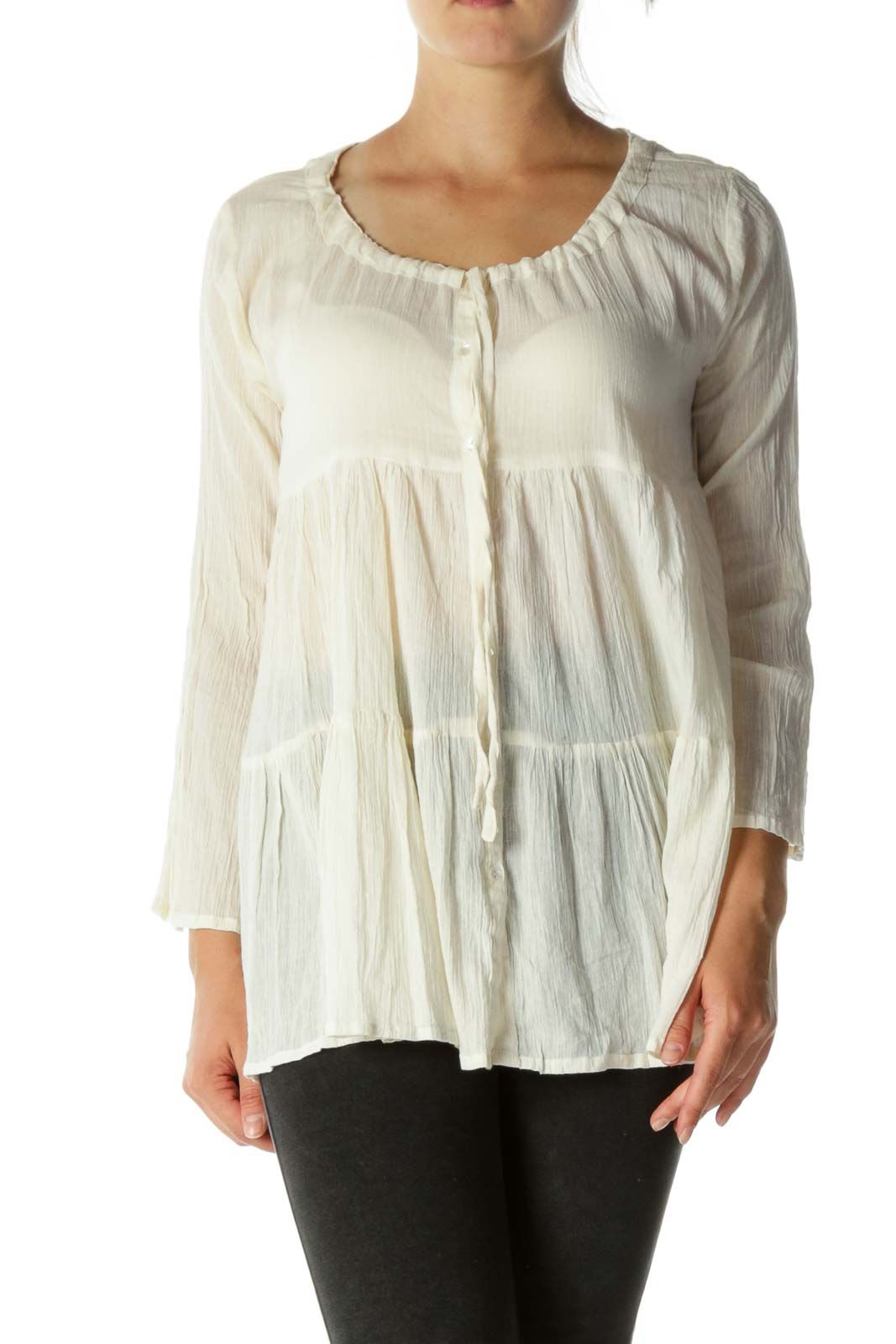 Beige Cotton Flared Sleeves Ruched Top