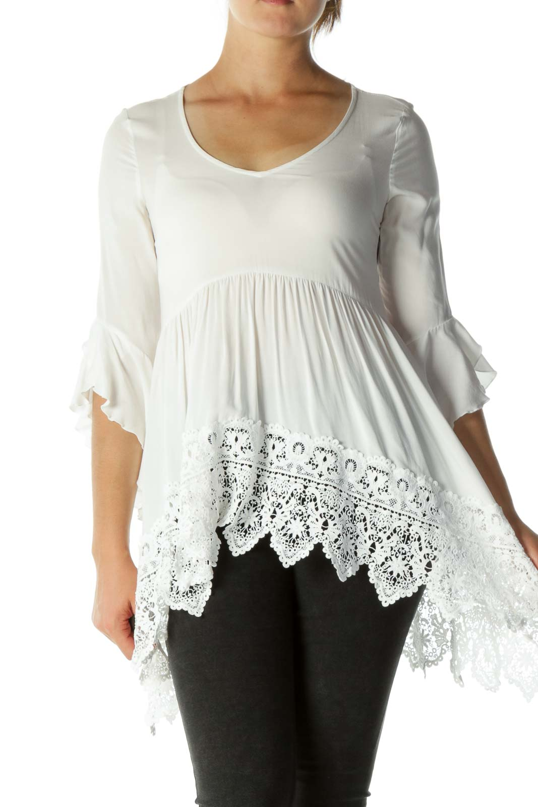 White Flared Sleeves Crocheted Detail Top