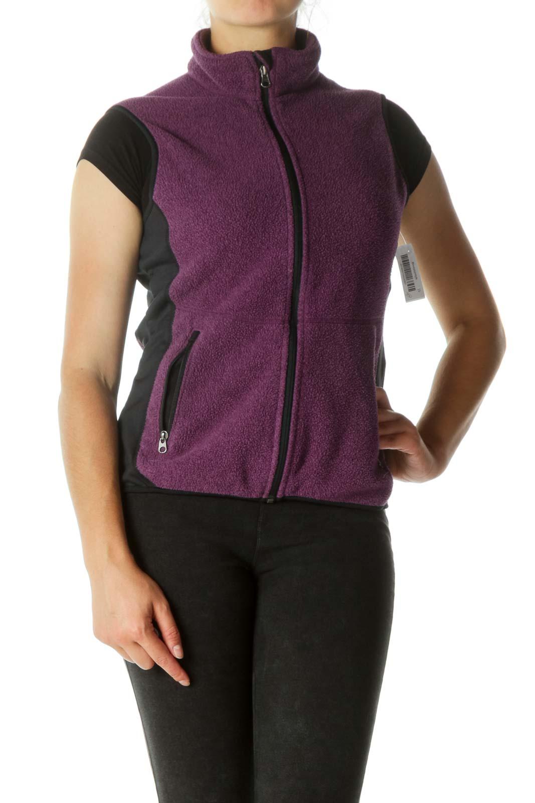 Purple & Black Zippered Fleece Vest