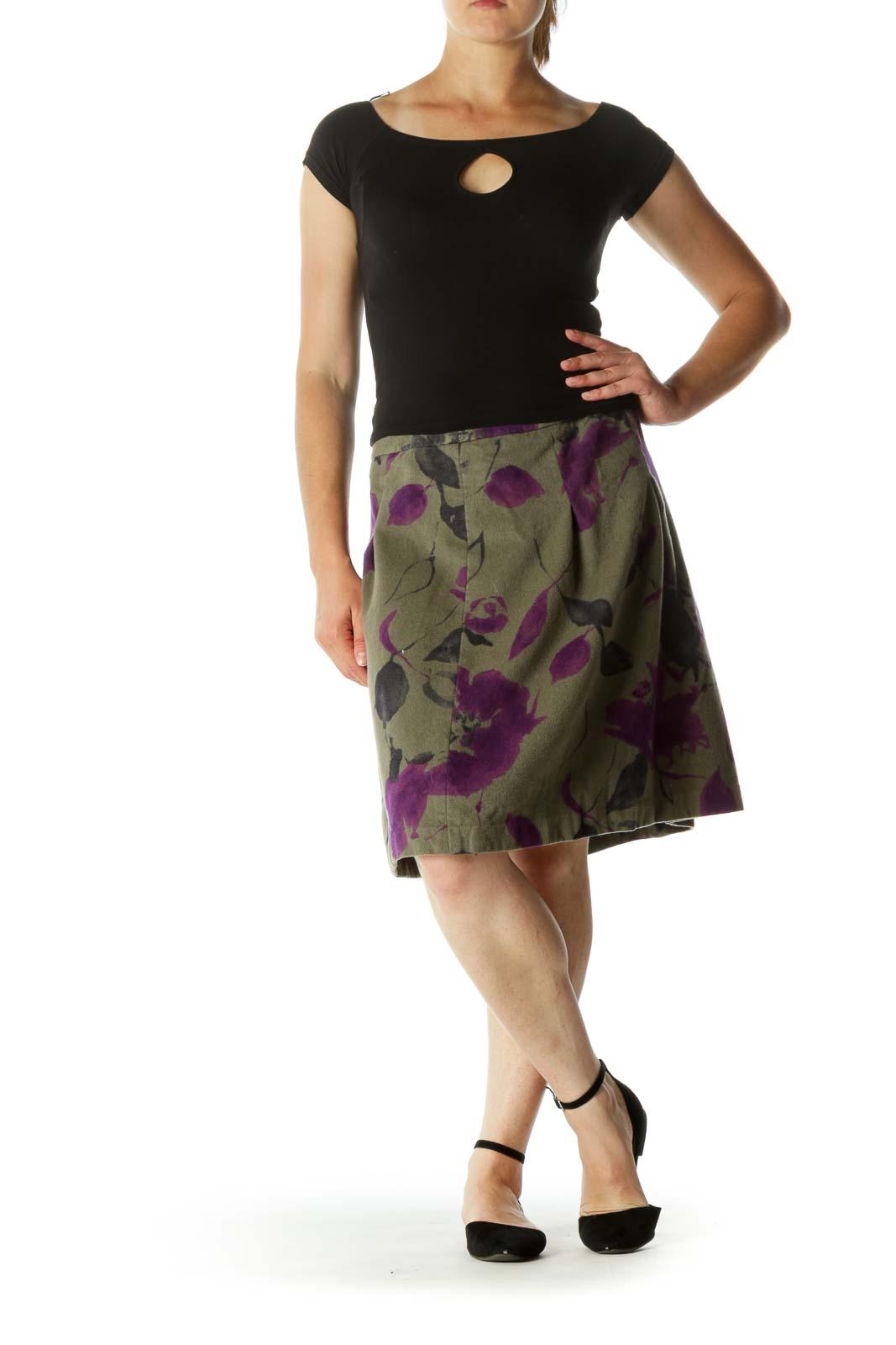 Green Purple Wool Floral Print Soft Textured A-Line Skirt