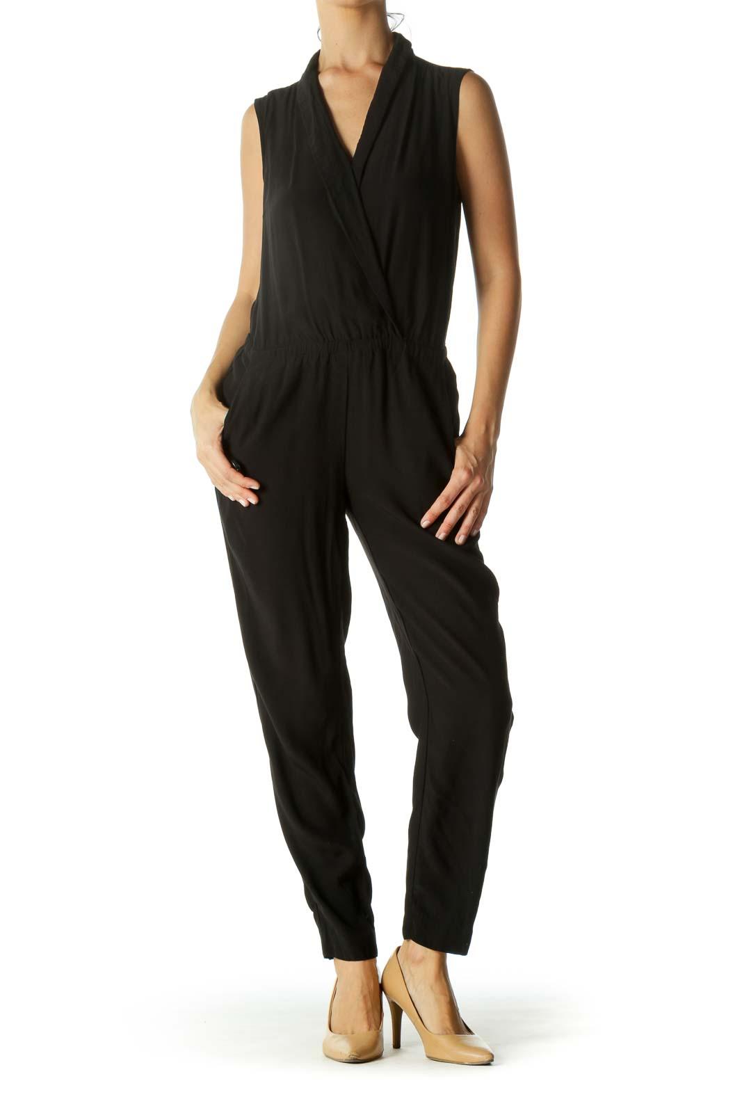 Black Surplice Elastic Waist Pocketed Jumpsuit