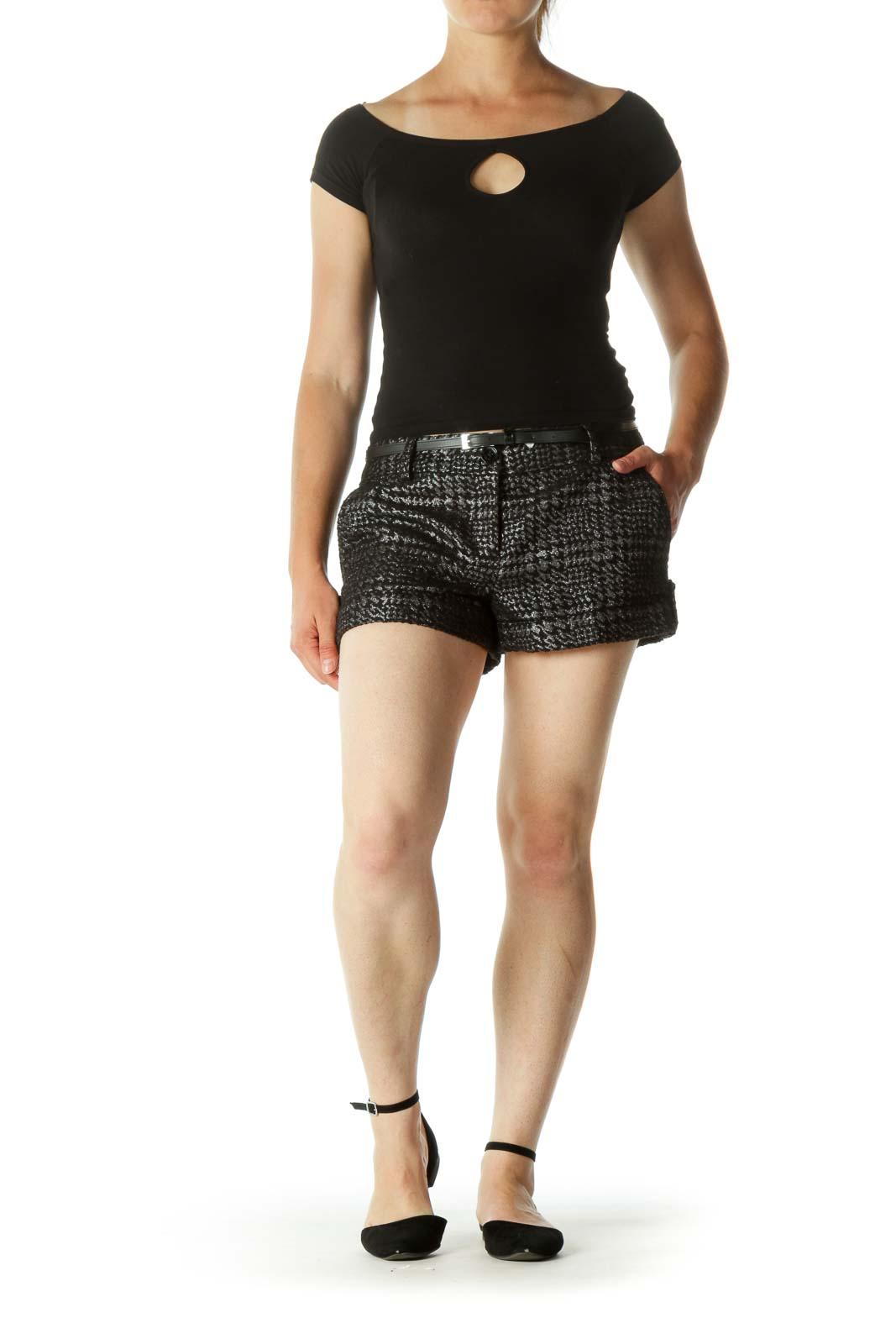 Black & Silver Folded Hem Metallic Short