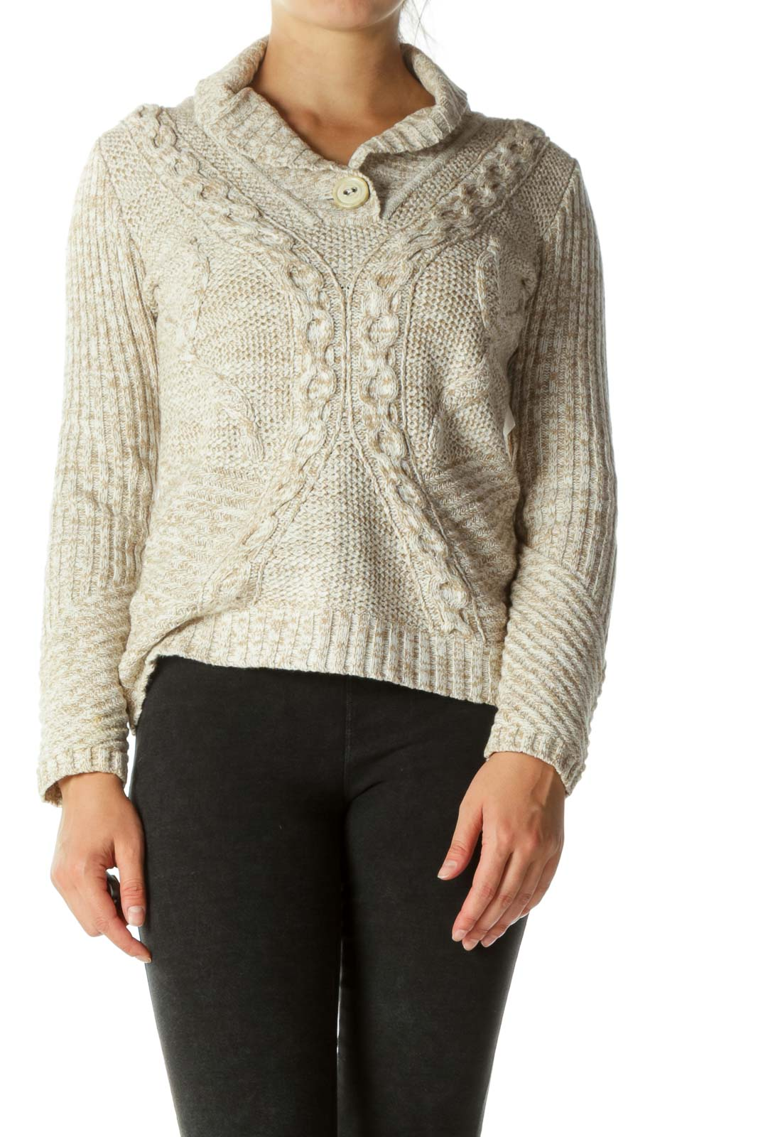 Cream Shawl Collar Cable Knit Top