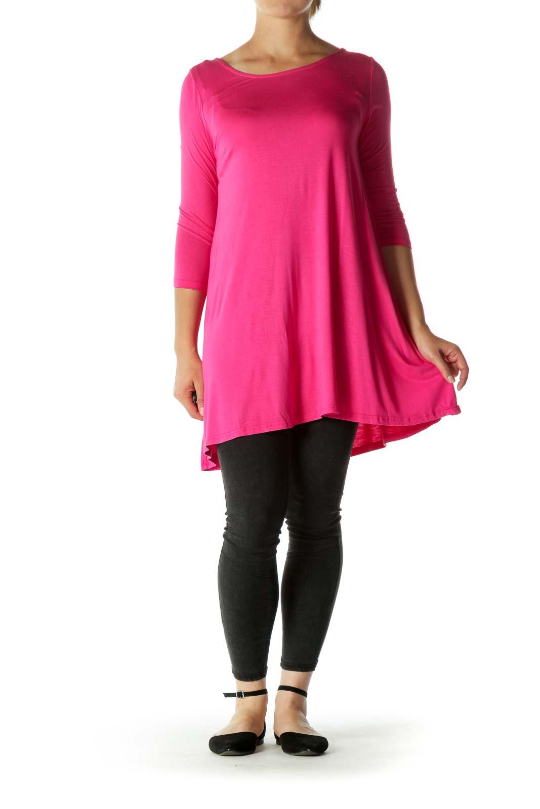 Pink Back Upper Detail 3/4 Sleeve Jersey Top