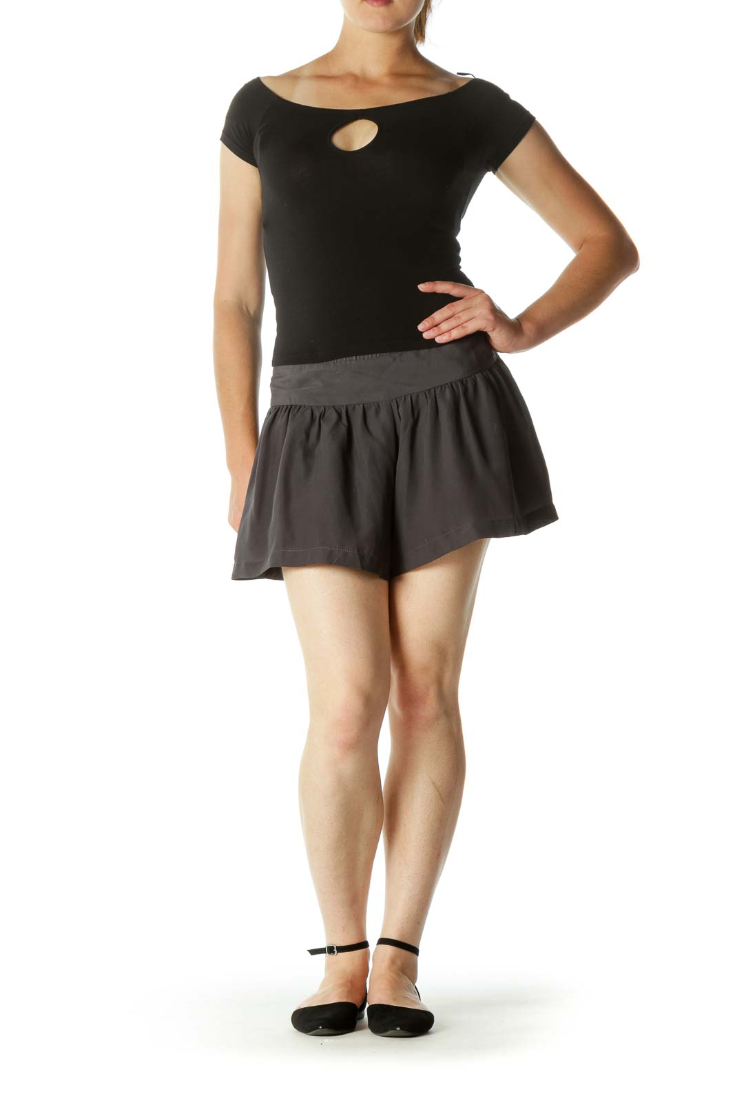 Dark Gray Zippered Pleated Short