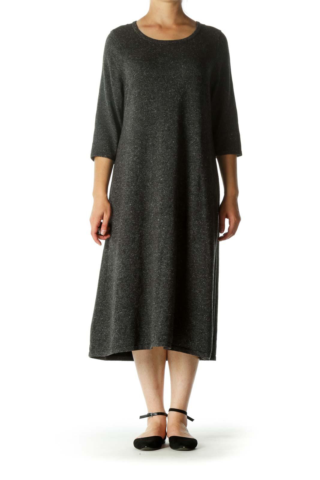 Gray White Round Neck Merino Wool Silk Cotton Blend Knit Dress