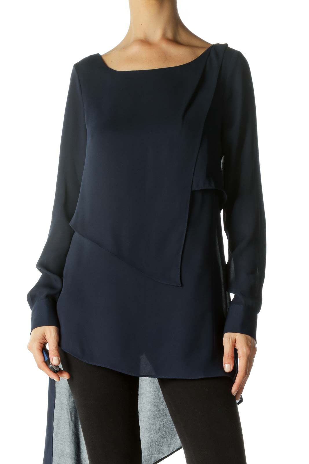 Navy Sheer Asymmetric Layered Blouse