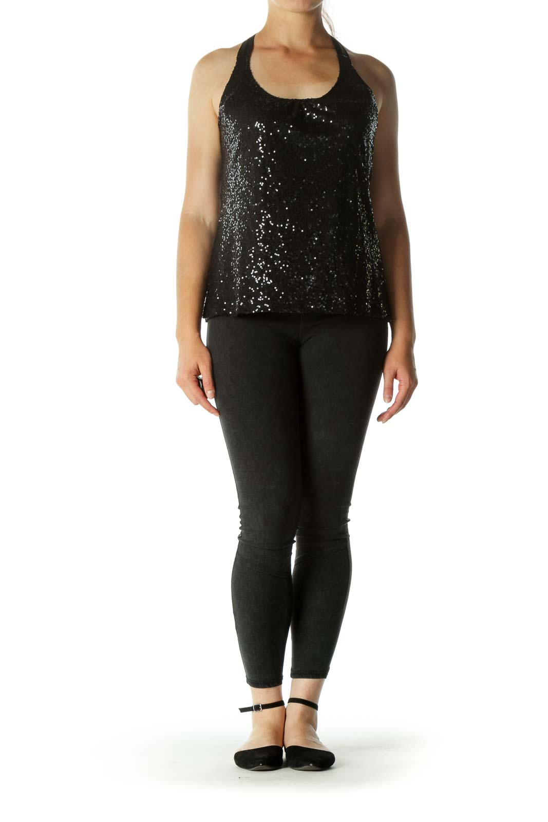 Black Sequined Thin Racerback Tank Tops