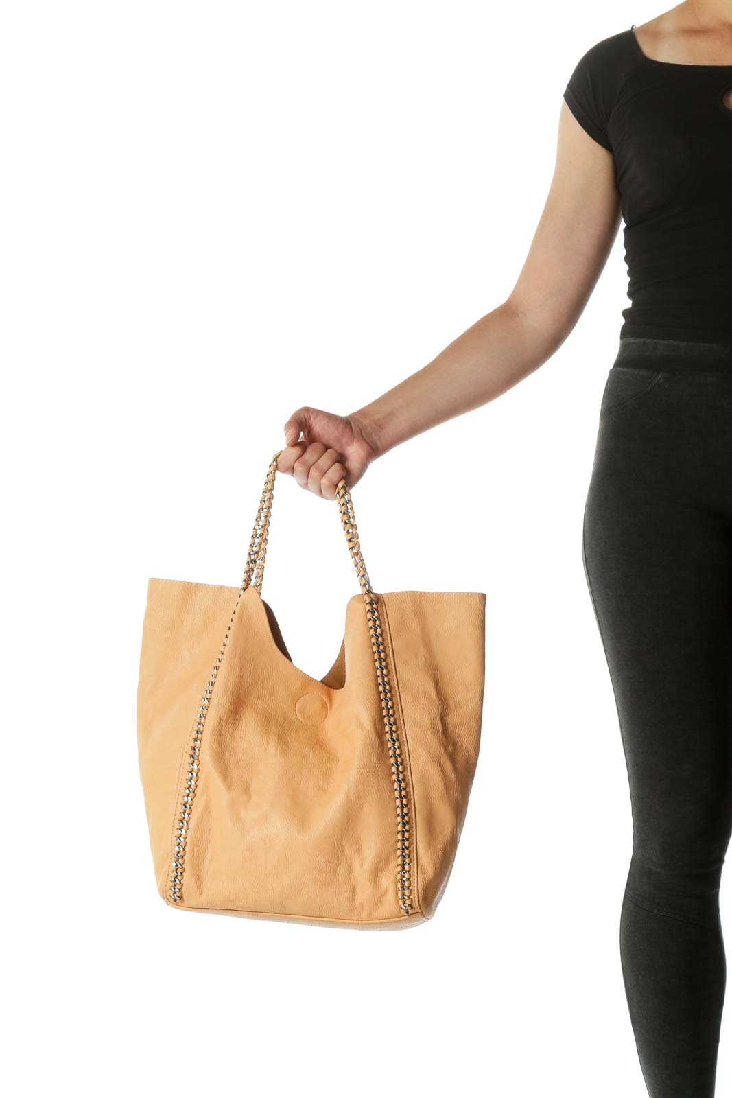 Beige Chain Strap Magnetic Closure Tote