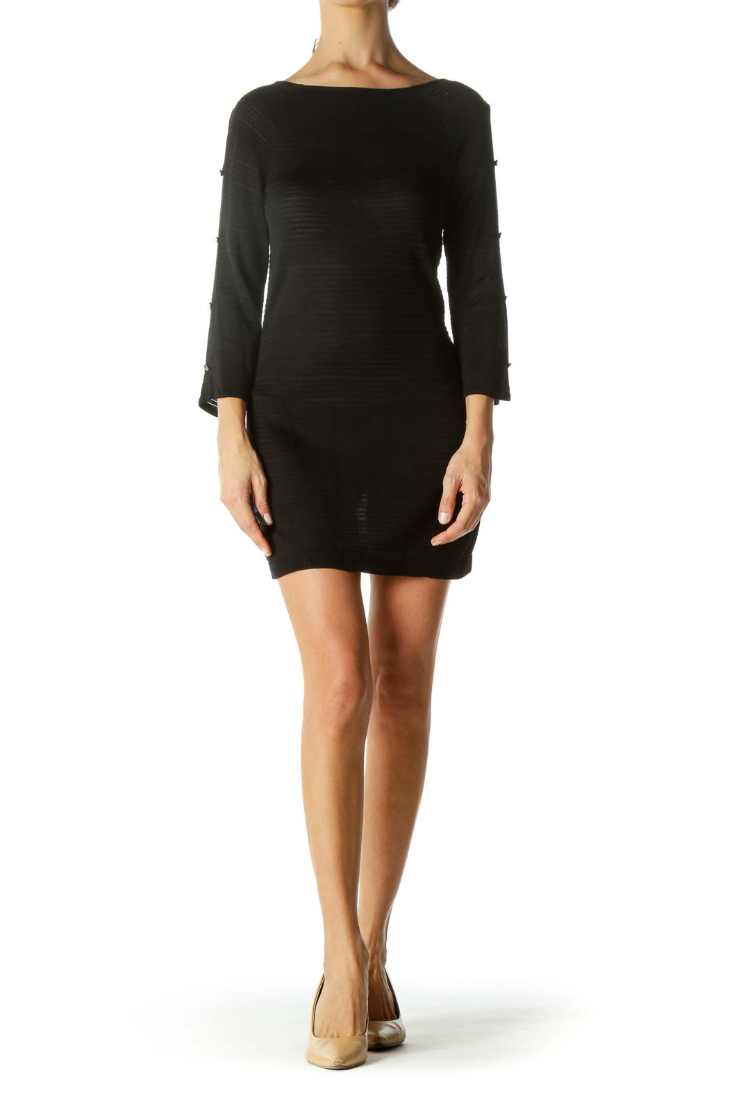 Black Rib Button-Detailed Sleeves Fitted Dress