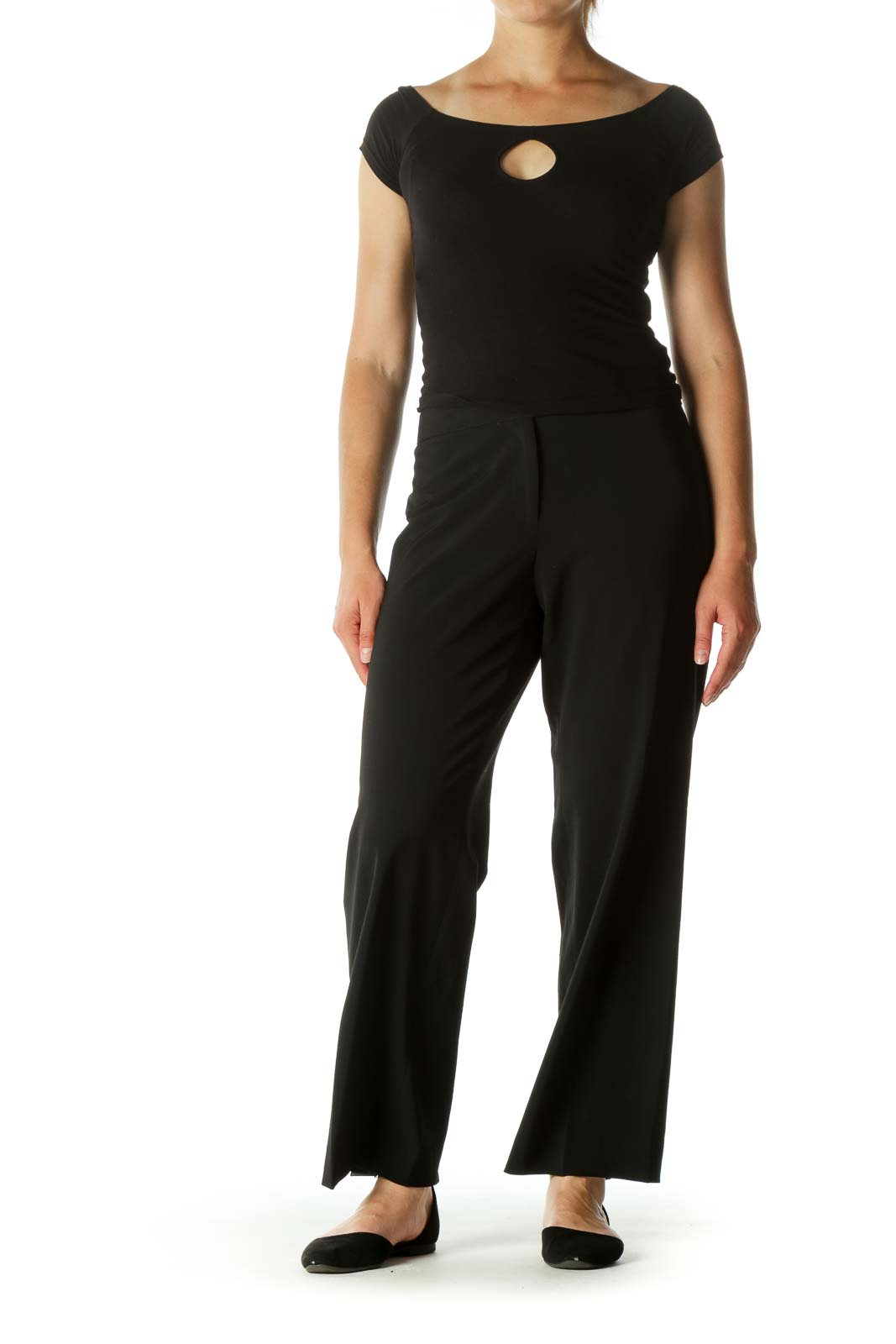 Black Buttoned Stretch Straight Leg Slacks