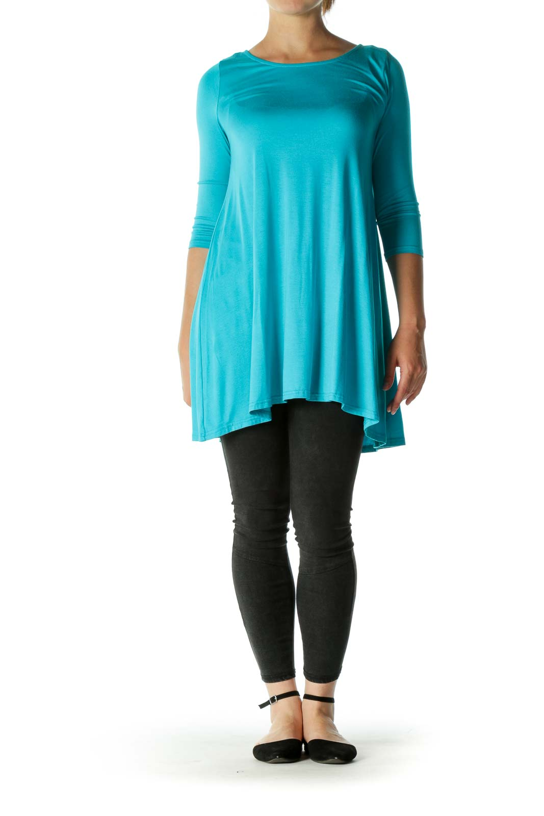 Blue Back Upper Cut-Out 3/4 Sleeve Jersey Fabric Top