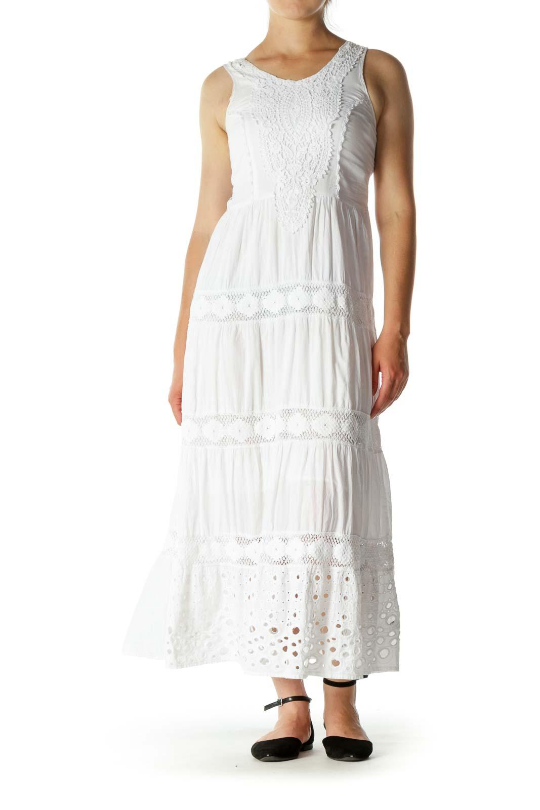 White Crocheted Eyelet Maxi Dress
