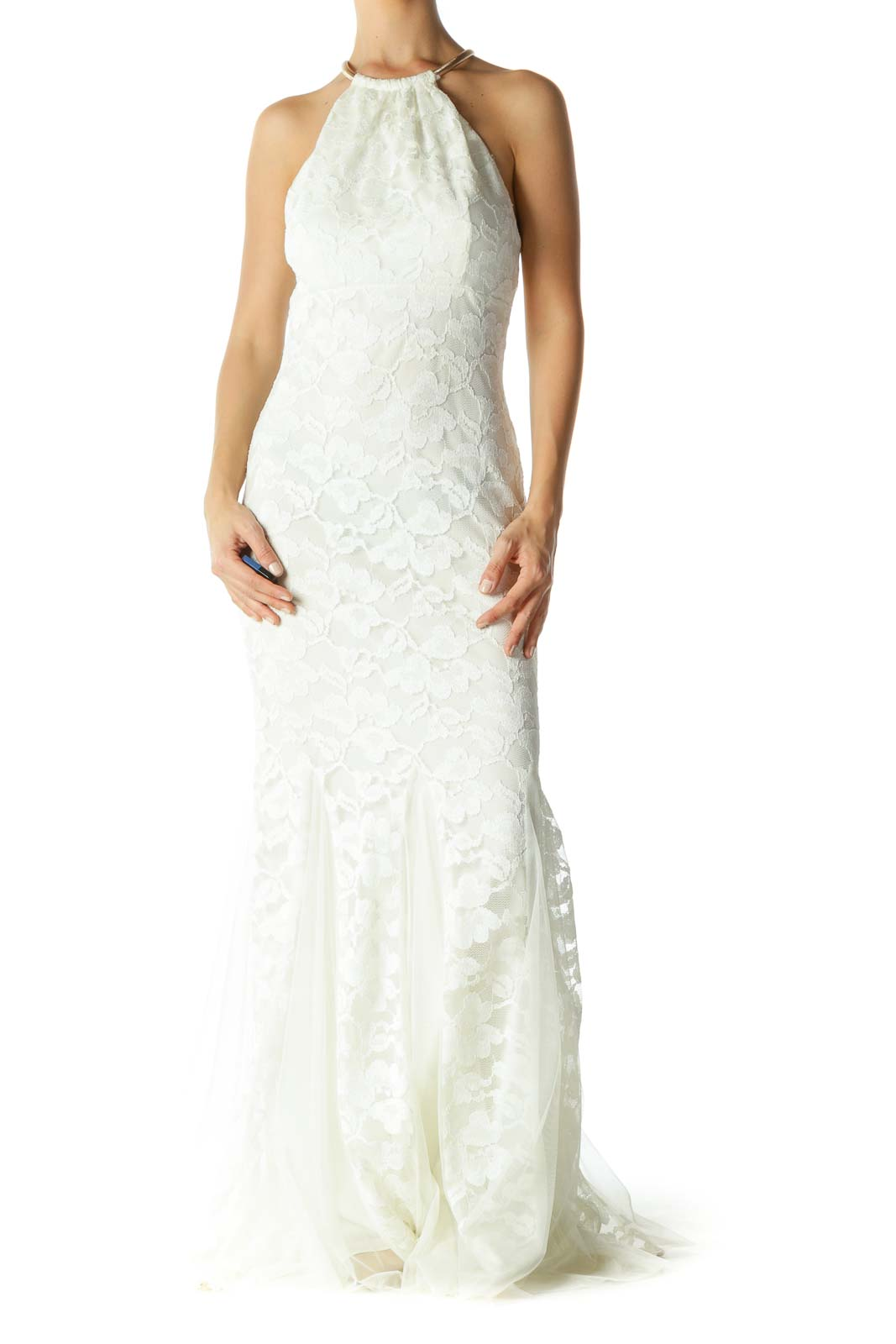 Cream Lace Tulle Halter with Gold Hardware Evening Dress