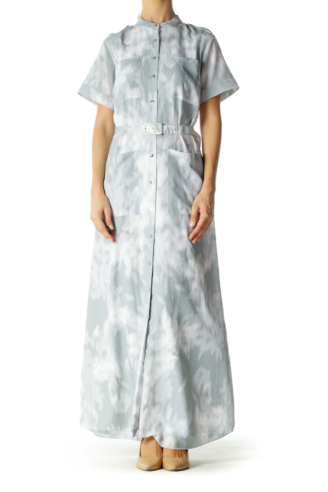 Grey and White Printed Belted Multi-Pocketed Maxi Dress