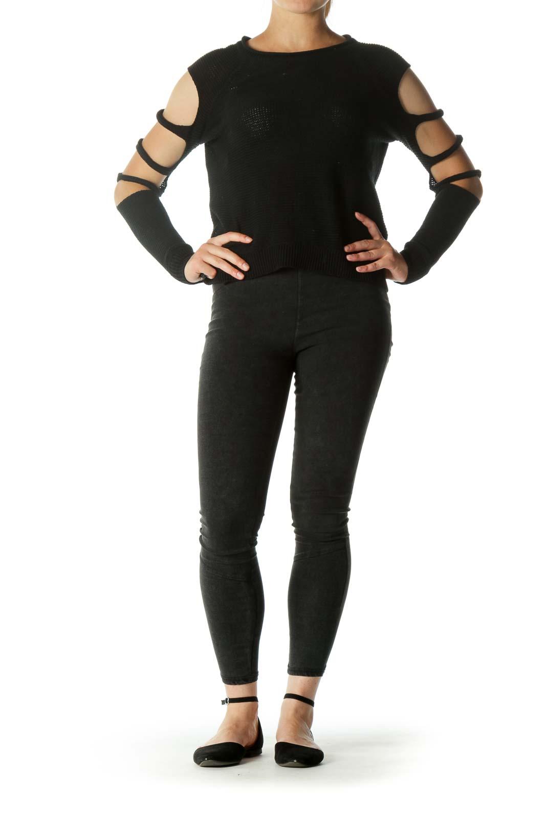 Black Sleeves Details Knit Top
