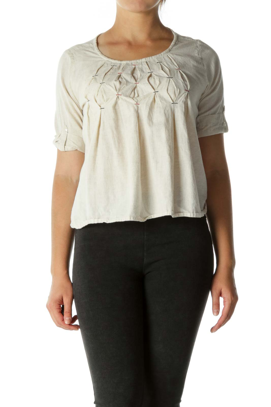 Beige Roll-Up Sleeves Pleated Blouse