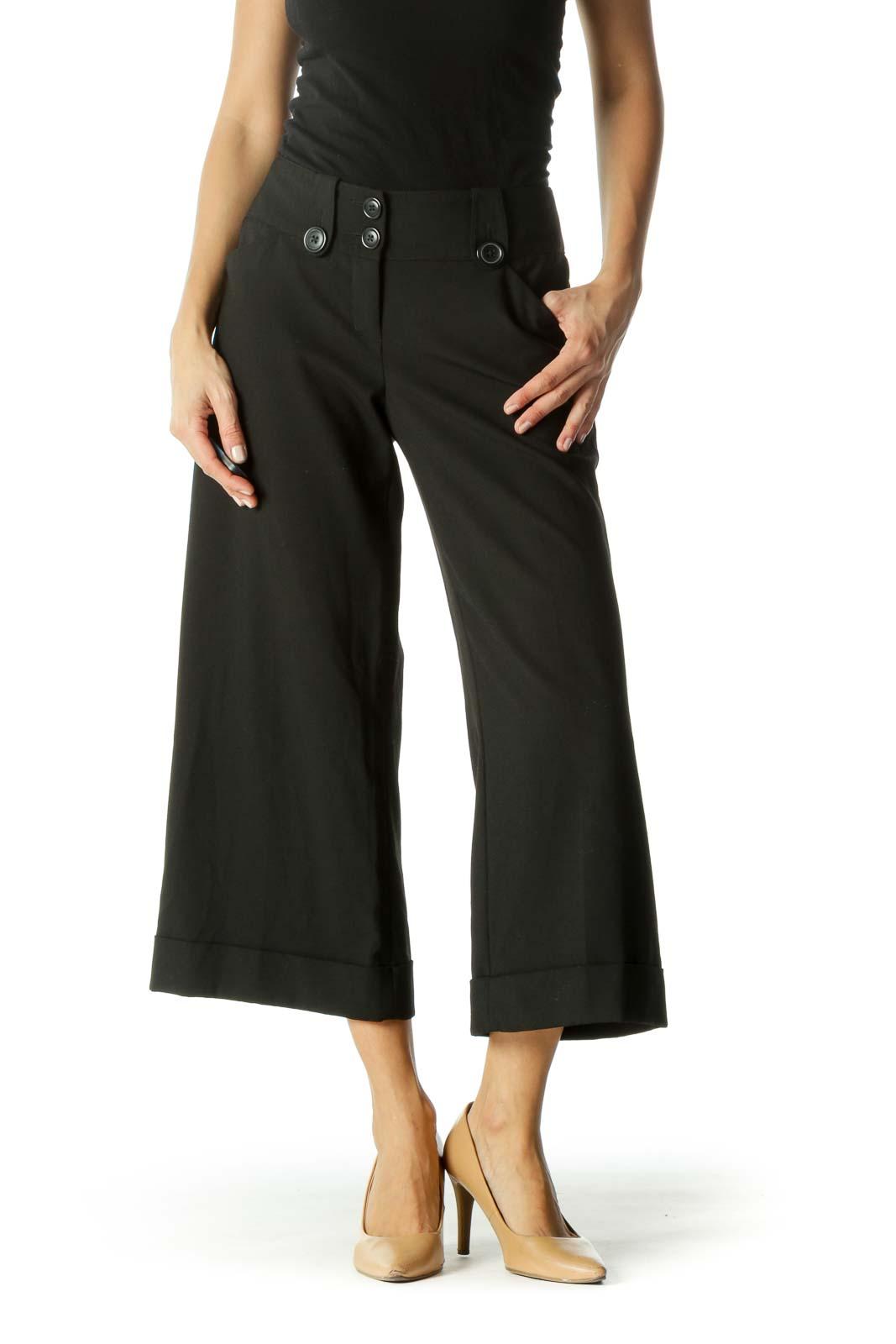Black Pocketed Belt-Hoops Culottes Pants