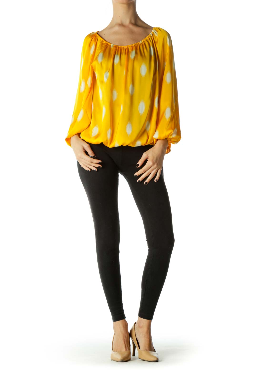 Yellow Off-Shoulder Long Sleeve Blouse