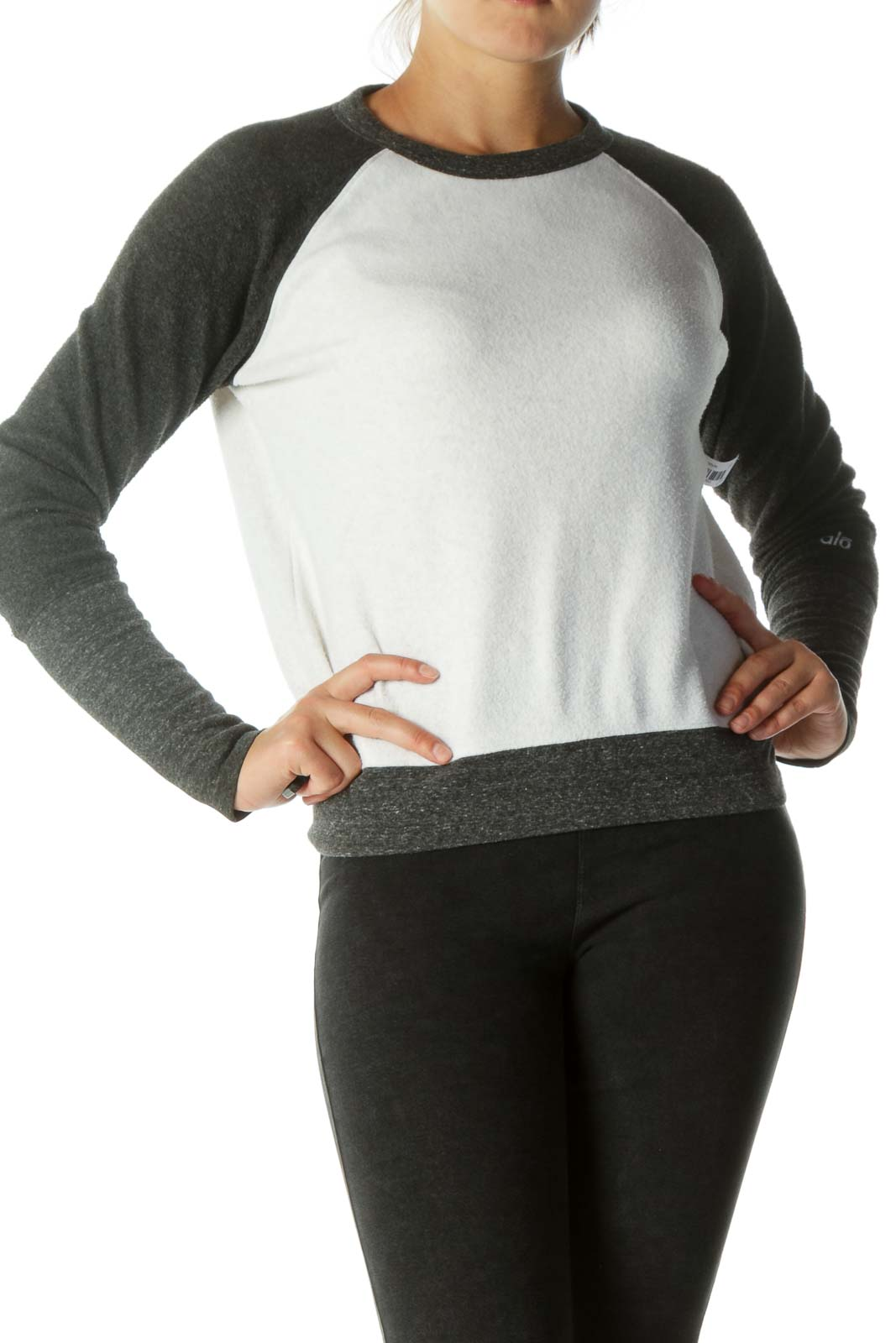 White Gray Soft Textured Pullover Sweatshirt