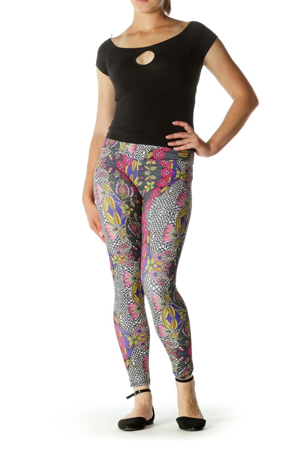 Multicolored Floral Print Stretch Active Pants