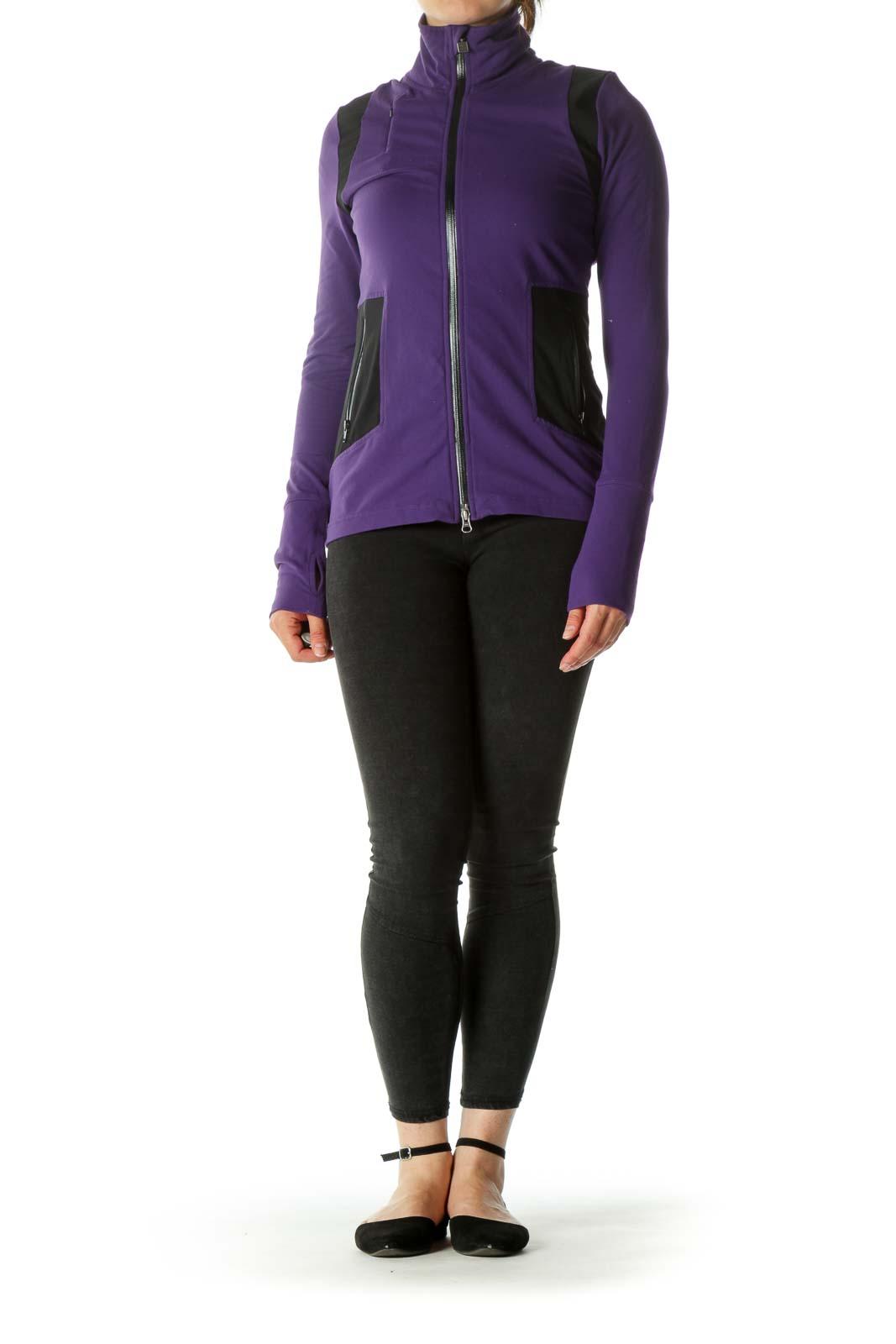 Purple & black Thumb-Holed Double Zippered Sports Jackets