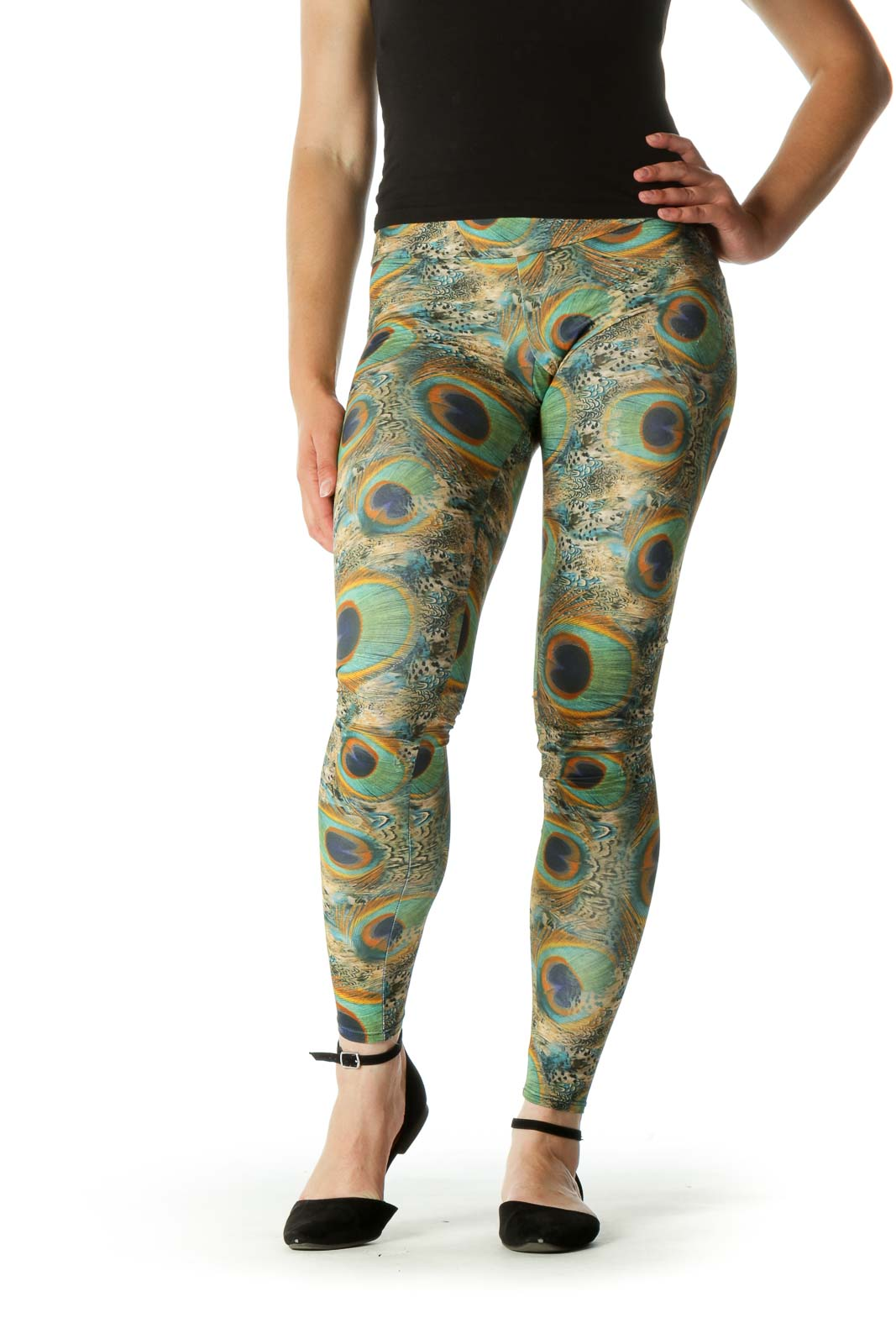 Green Blue Orange Peacock Feathers Print Active Pants