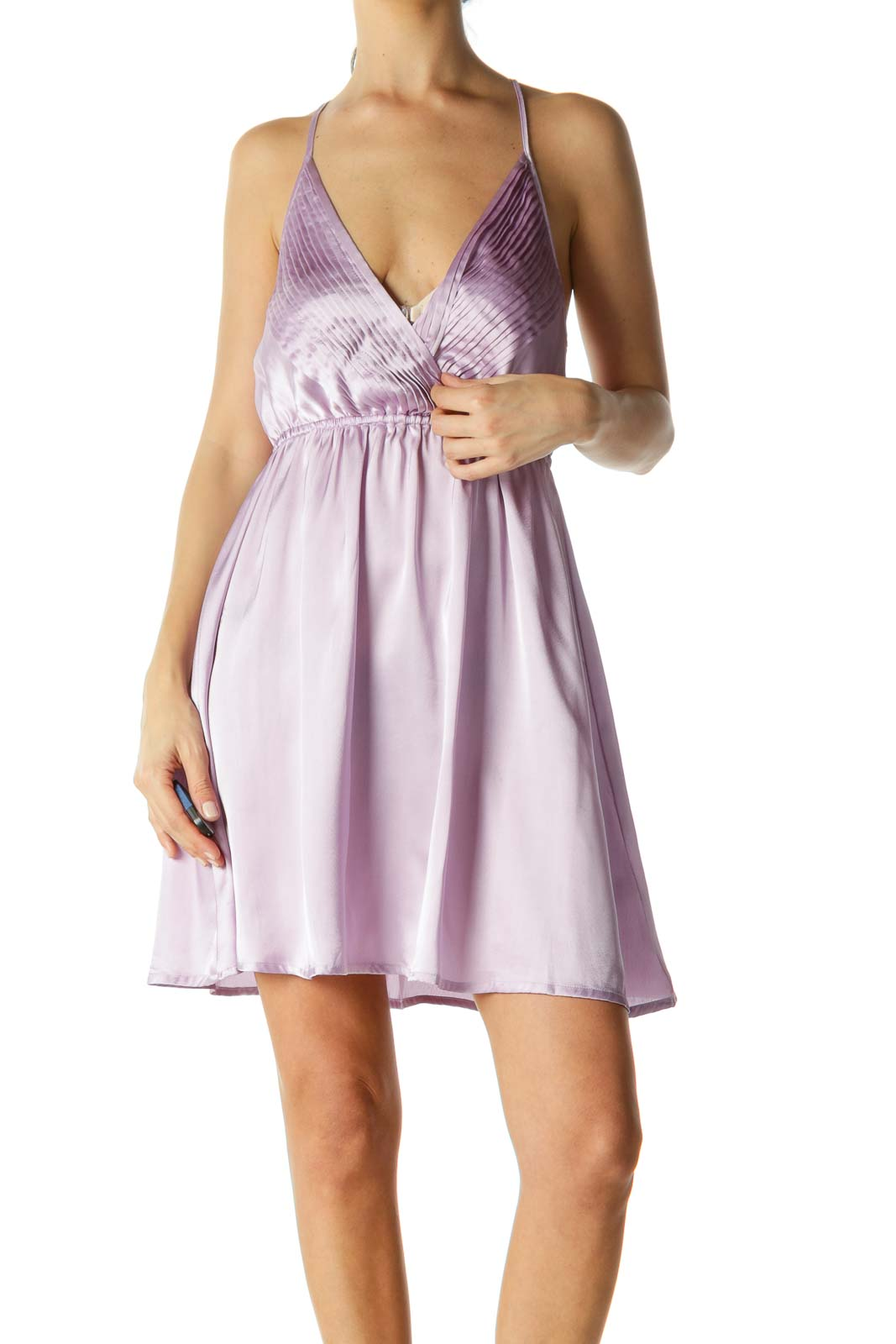 Lilac Cinched Open-Back Dress