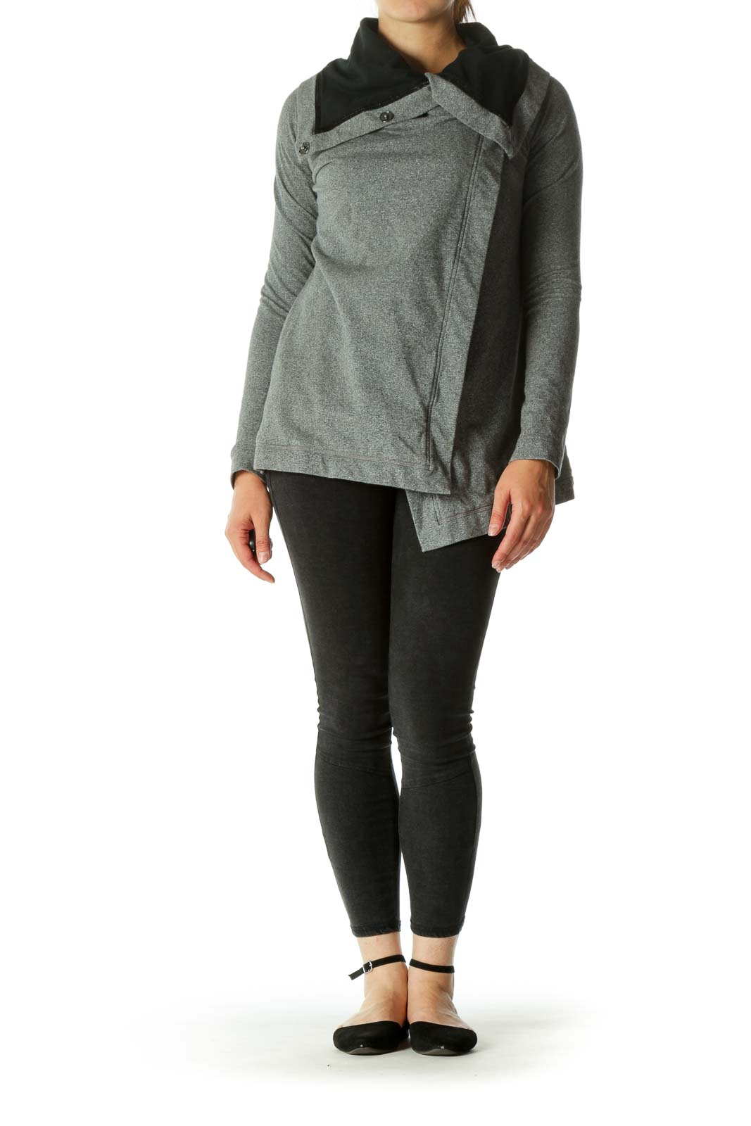Gray Pocketed Shawl Collar Sport Jackets