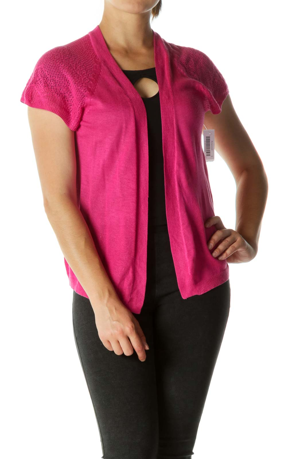 Pink Open Knit Cardigan