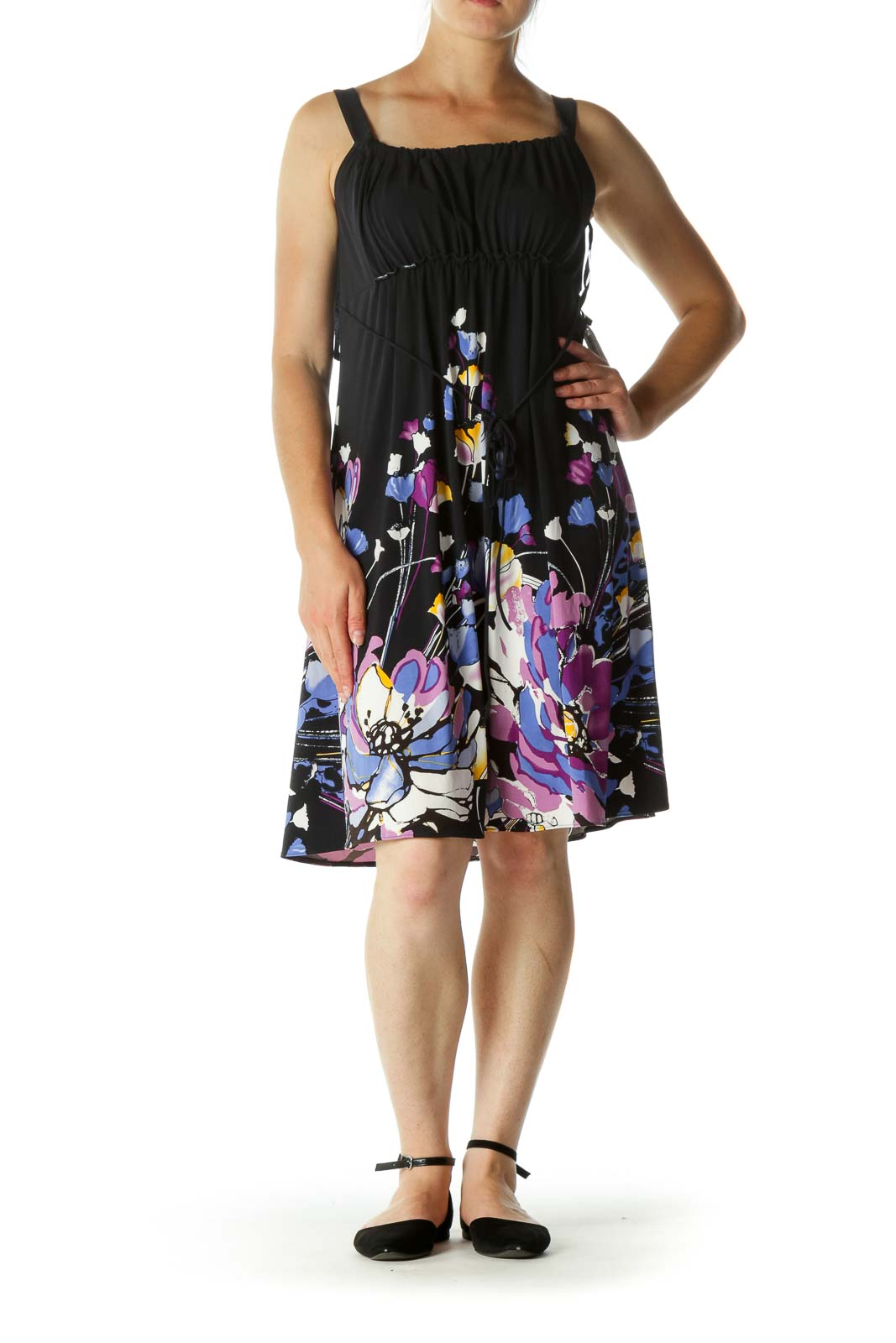 Multicolored Round Neck Scrunched Floral Print Stretch Cocktail Dress
