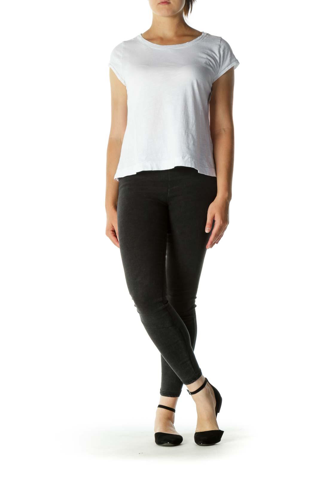 White Round Neck Cap Sleeve T-shirt