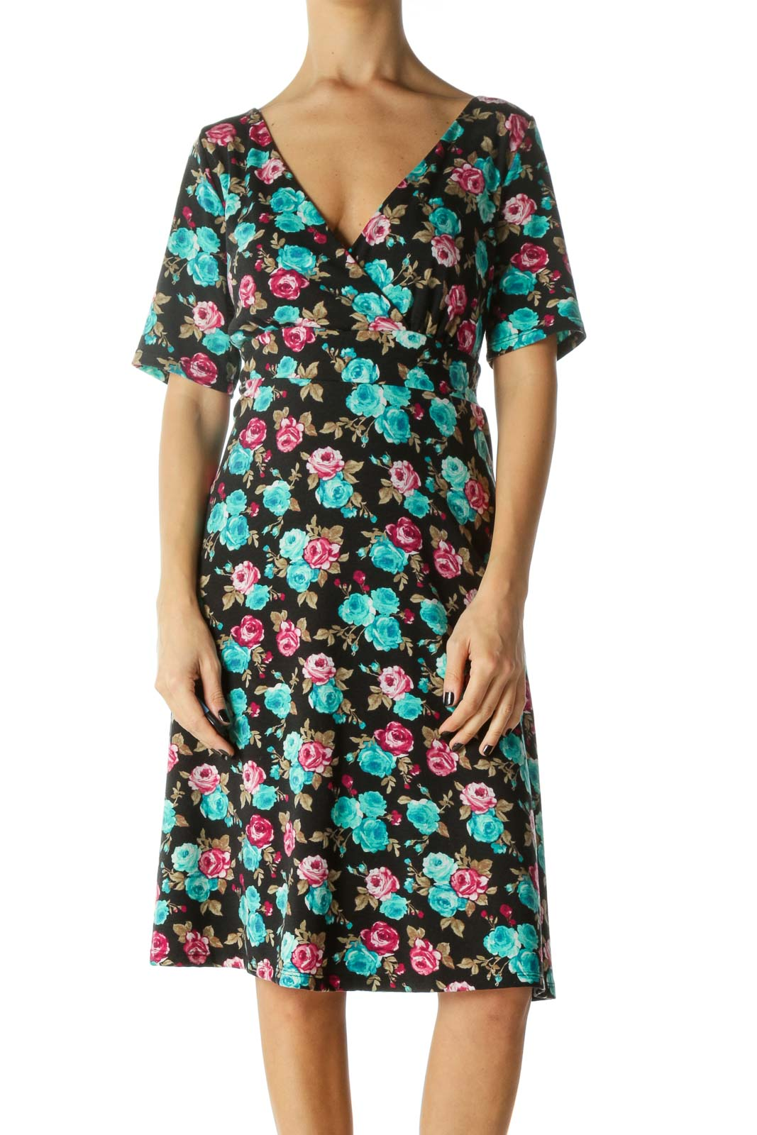 Multicolor Empire Waist Deep-V Neck Dress