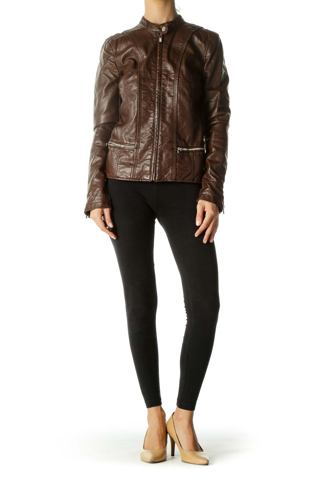Brown Zippered Pocket Faux-Leather Jacket