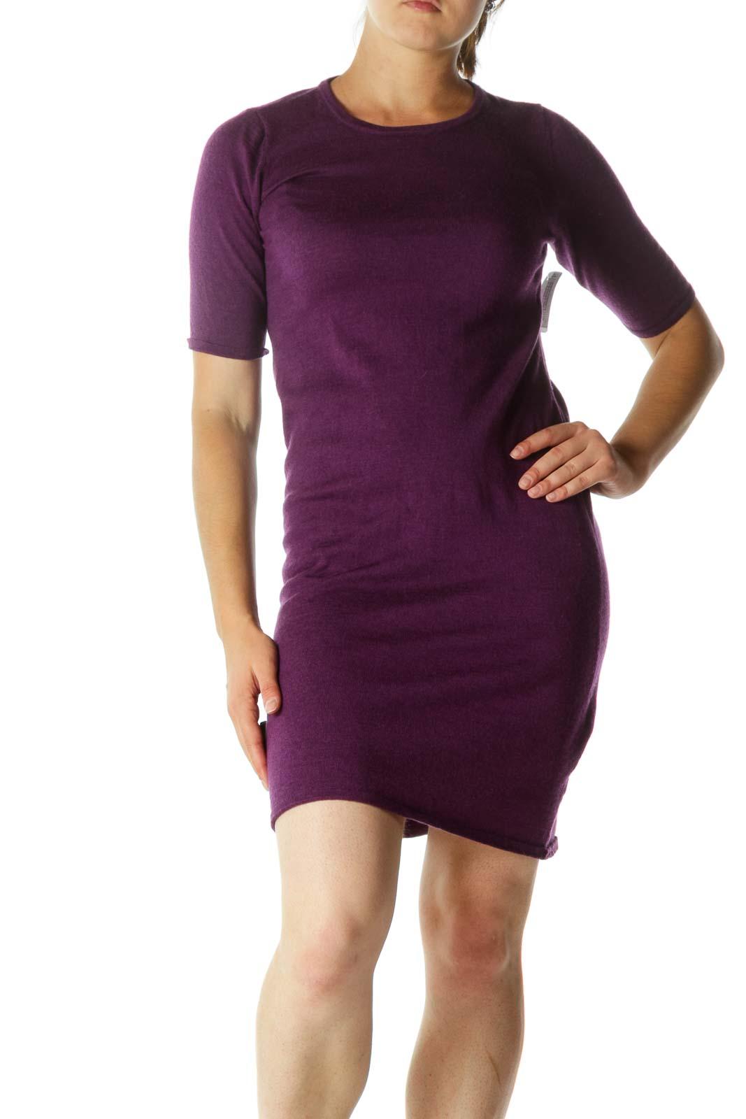 Purple Round Neck Knit Dress
