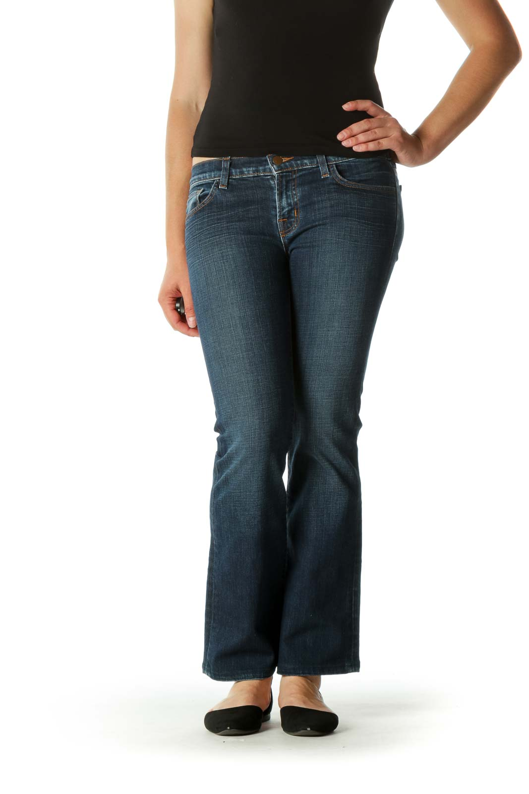 Blue Medium-Wash Bootcut Jeans