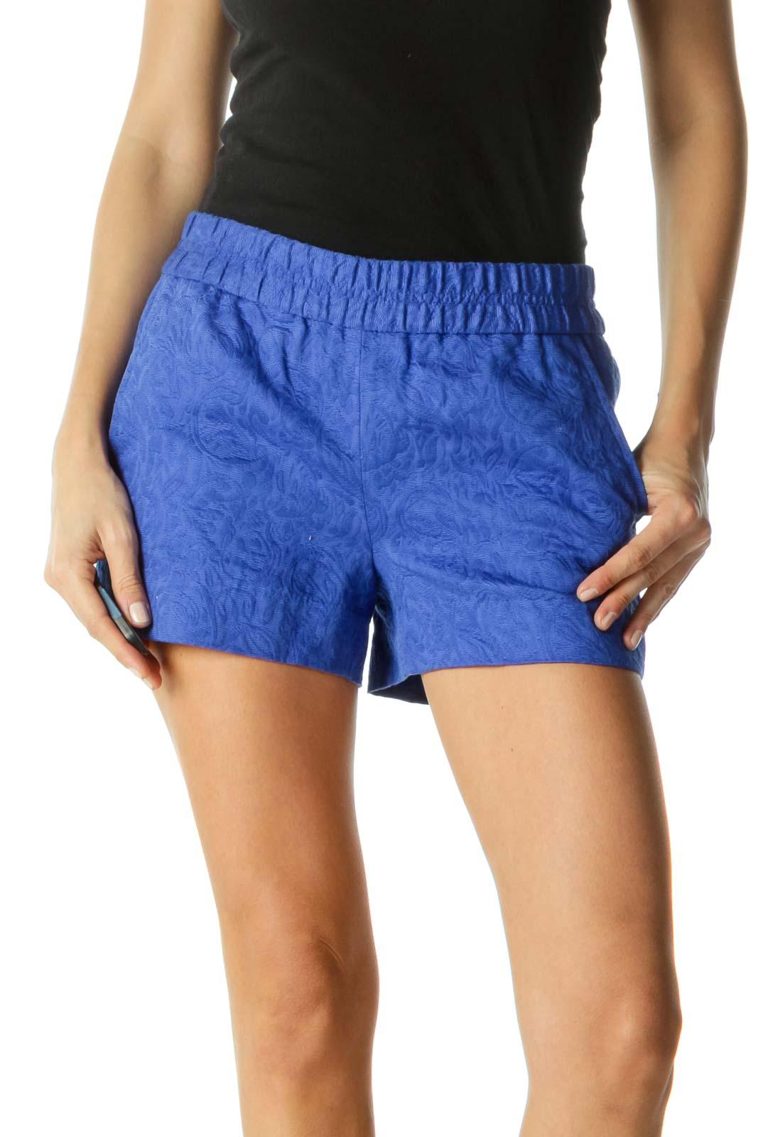 Blue Patterned Textured Short