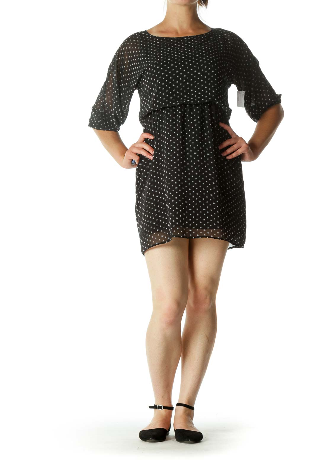 Black and White Polka-Dot Single Button Day Dress