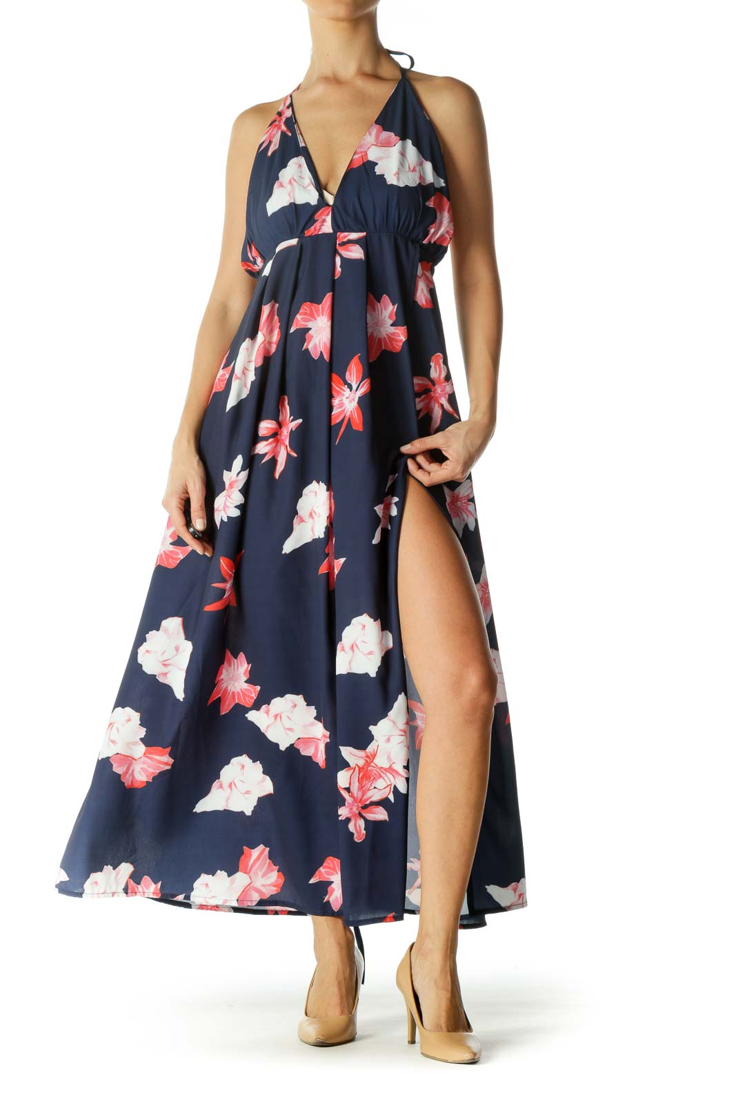 Blue And Pink Floral Halter Maxi Dress