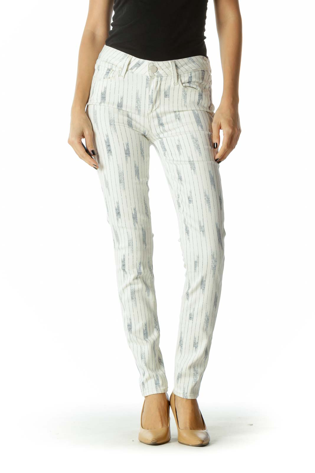 White & Navy Pocketed Patterned Skinny Pants