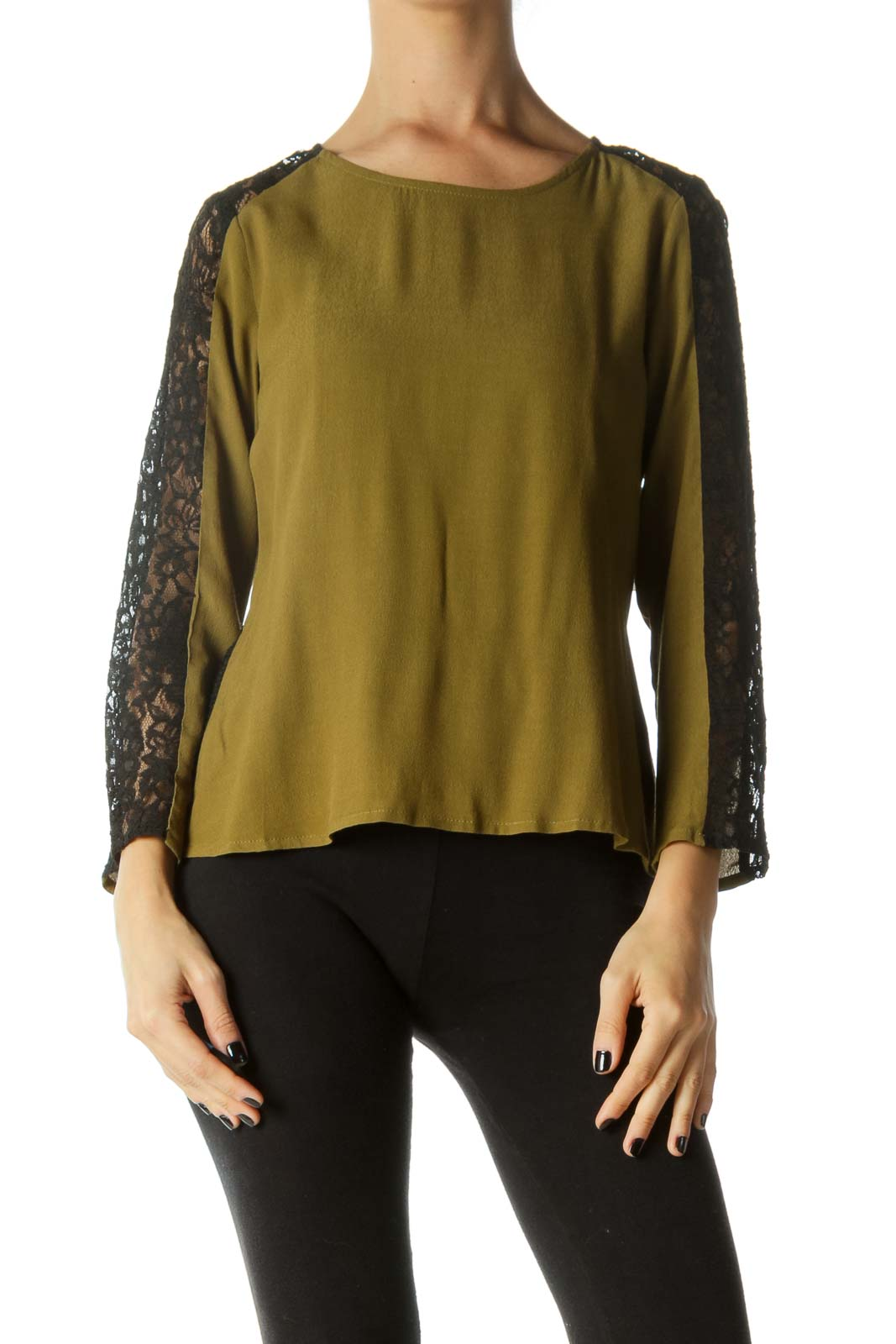 Black & Green Lace See-Through Blouse