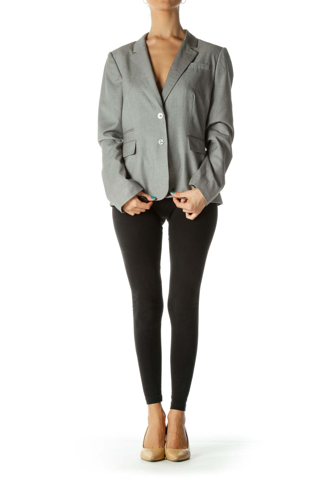 Gray Pocketed Clasp Buttoned Suit Jacket