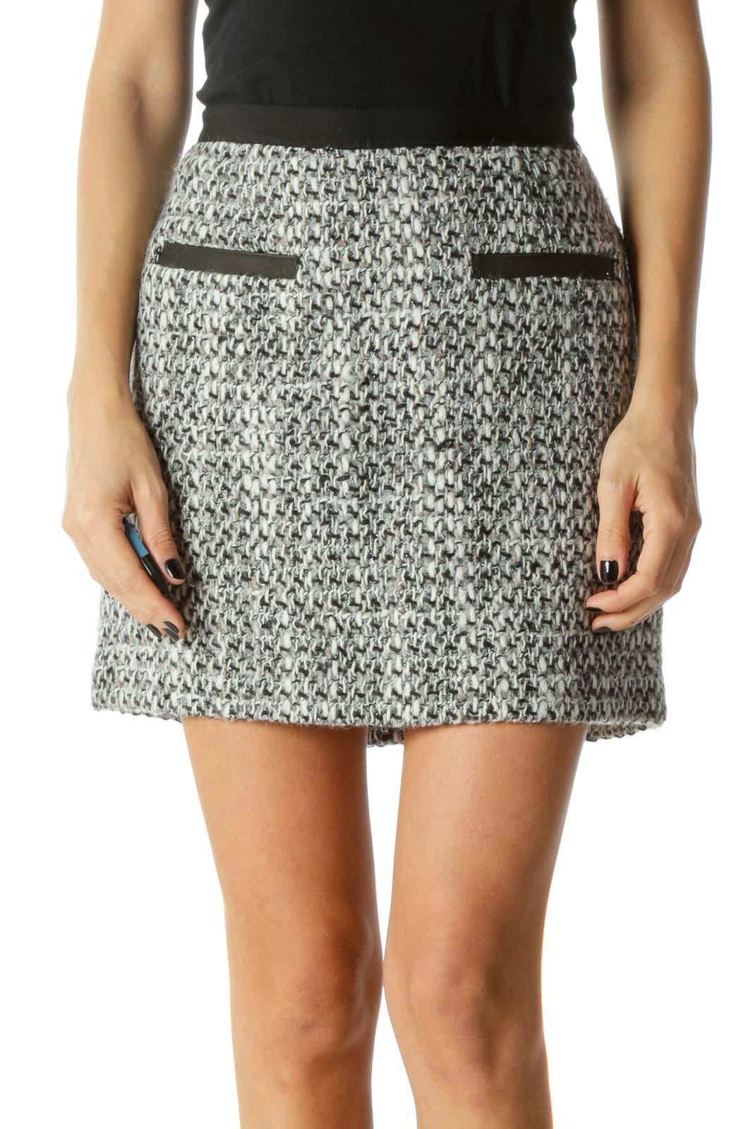 Black & Gray Faux-Pockets Tweed Zippered Skirt