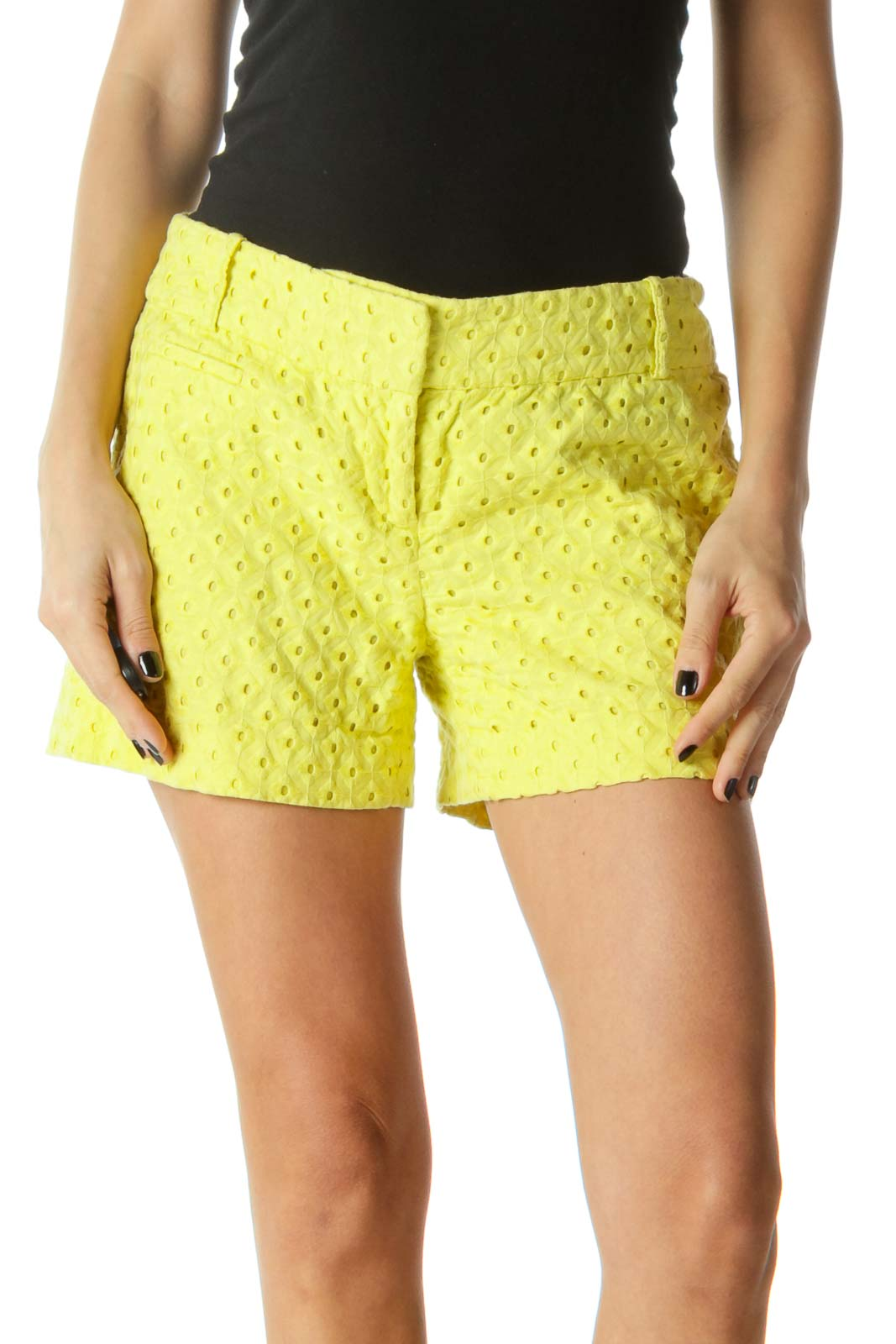 Yellow Patterned Back Pocketed Shorts