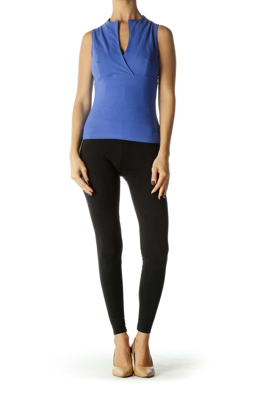 Blue V-neck Sleeveless Yoga Top