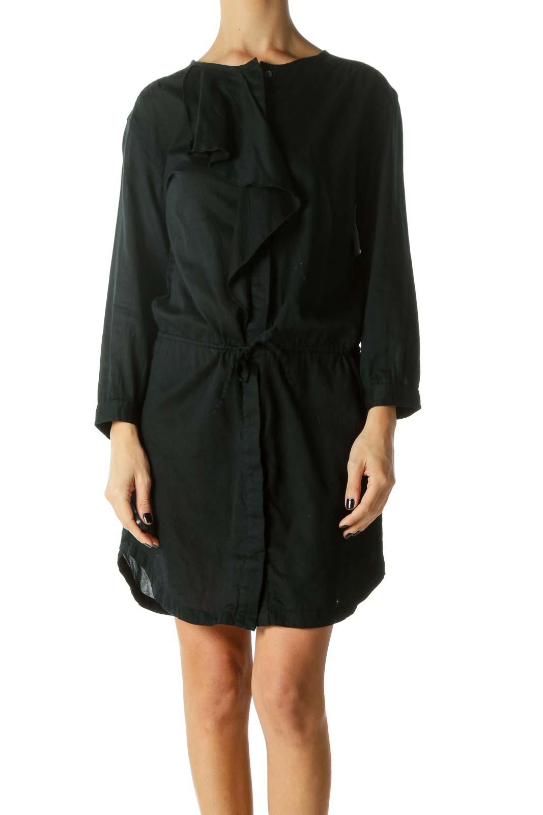 Black Ruffled Drawstring Button-Down Dress