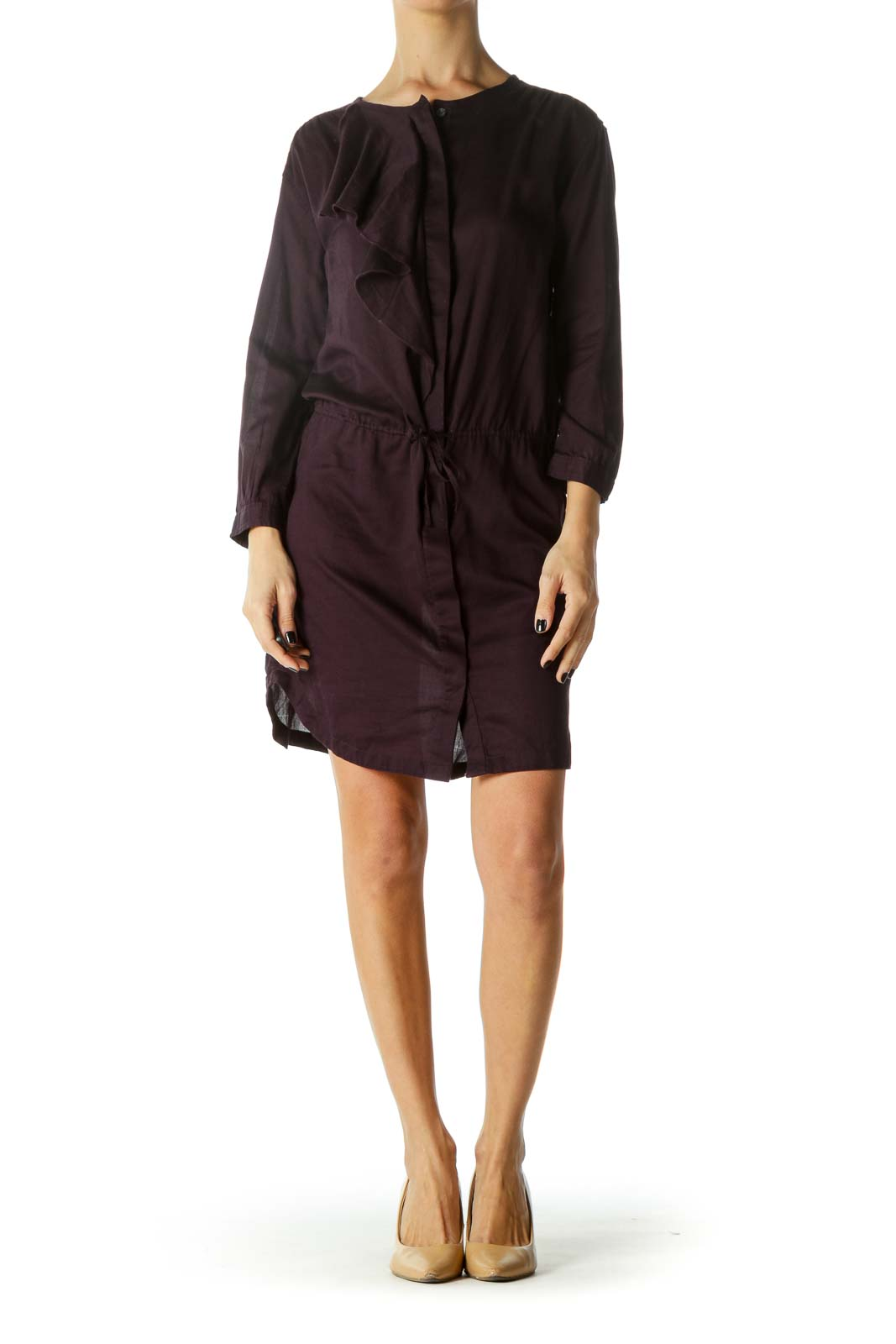 Purple Ruffled Button-Down Drawstring Dress