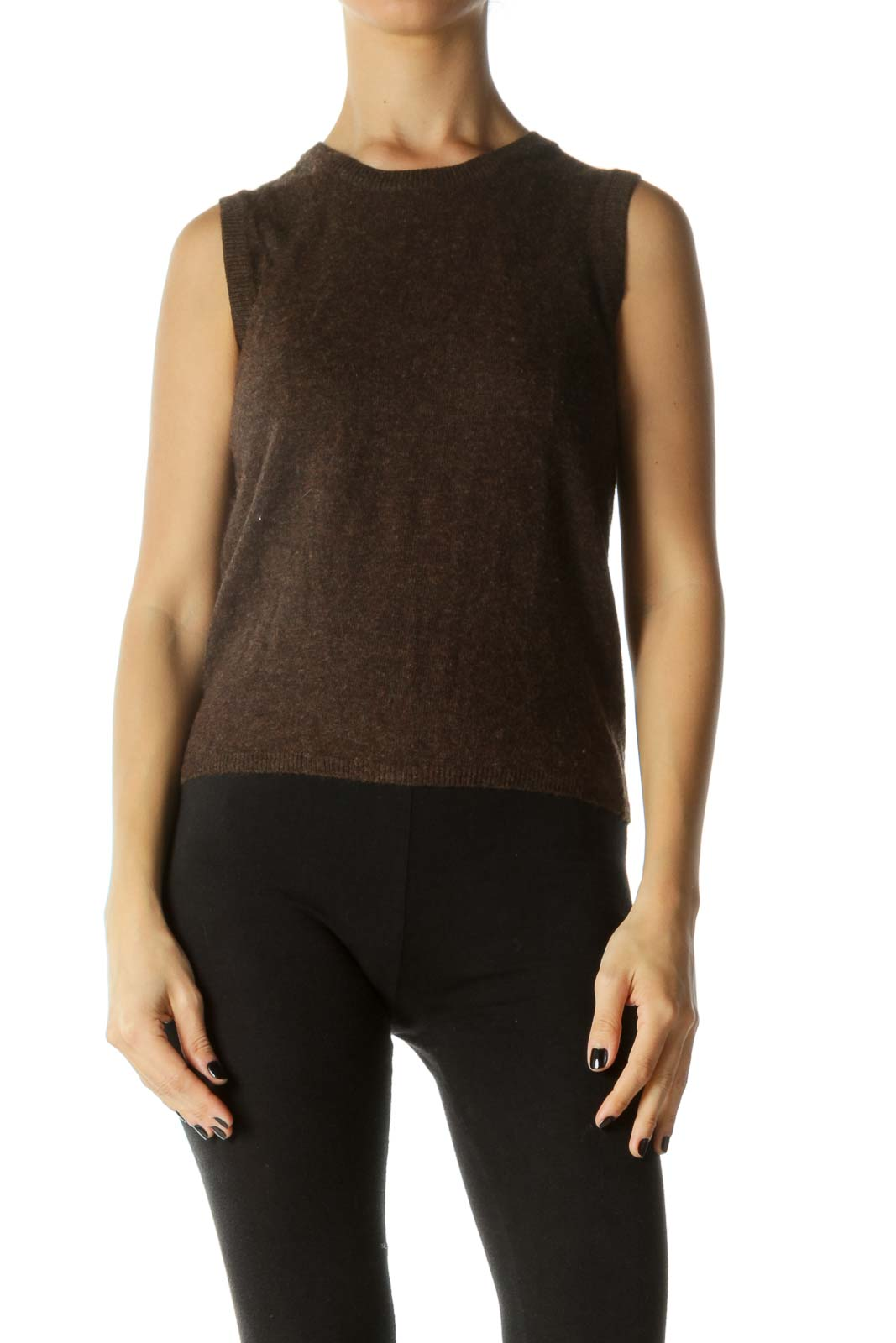 Brown Round Neck Sleeveless Knit Top
